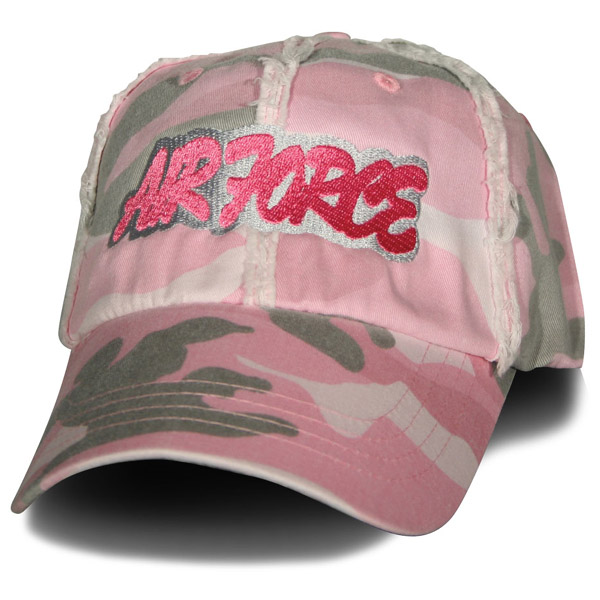 Air Force AIR FORCE Curvy Letters Direct Embroidered Washed and Frayed Pink  Camo Ball Cap 6453b2c7ed35