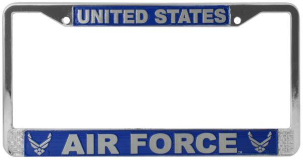 US Air Force Emblem on Chrome License Plate Au-Tomotive Gold INC