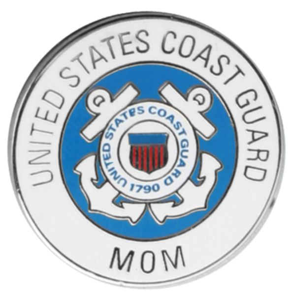 Coast Guard Mom Round Lapel Pin 7/8