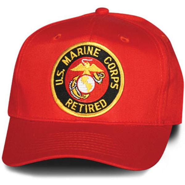 5d4808e4d00 United States Marine Corps Eagle Globe and Anchor Retired Red Patch Ball Cap