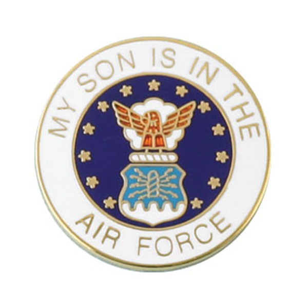 Lapel pins mitchell proffitt my son is in the air force with crest lapel pin 78 round publicscrutiny Choice Image