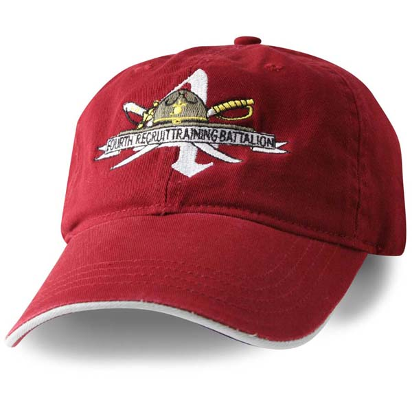53e962be54f11c 4th Battalion Parris Island Direct Embroidered Maroon Ball Cap