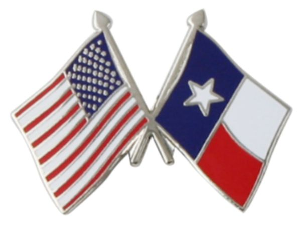 American Flag And Texas State Cross Flag Lapel Pin