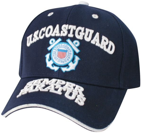 1a7ced9c175 XX11 United States Coast Guard Multiple Position Embroidery on Blue Ball Cap