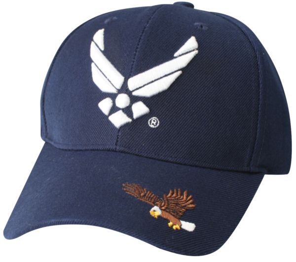 f7a5edfc XX11 United States Air Force Symbol (Eagle on Front Visor) Multiple  Position Embroidery on Ball Cap